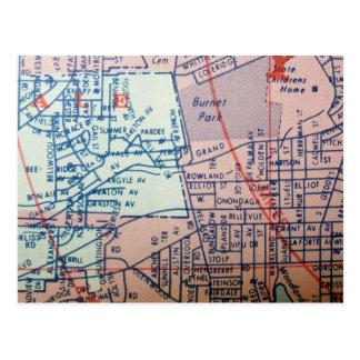SYRACUSE, NY Vintage Map Postcard