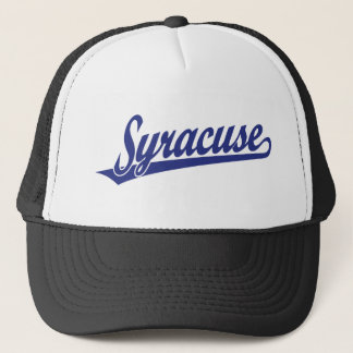 Syracuse script logo in blue trucker hat