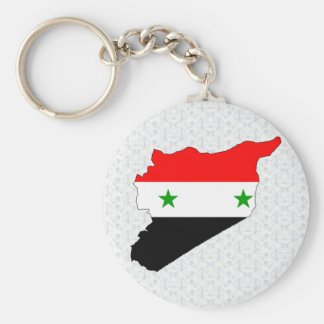 Syria Flag Map full size Basic Round Button Key Ring
