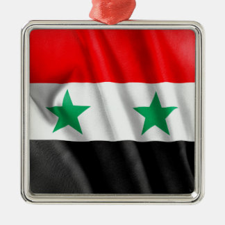 Syria Flag Silver-Colored Square Decoration
