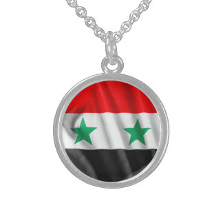Syria Flag Sterling Silver Round Necklace