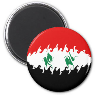 Syria Gnarly Flag 6 Cm Round Magnet