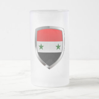 Syria Metallic Emblem Frosted Glass Beer Mug