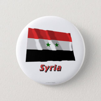 Syria Waving Flag with Name 6 Cm Round Badge