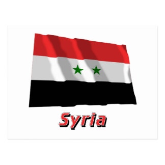 Syria Waving Flag with Name Postcard