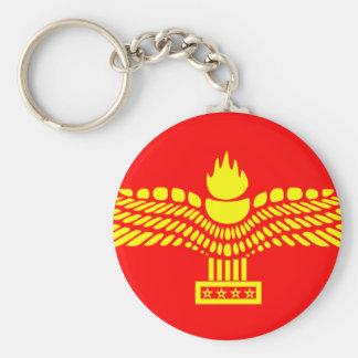 Syriac Aramaic People, Syria flag Basic Round Button Key Ring