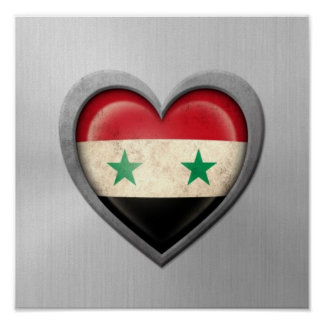Syrian Heart Flag Stainless Steel Effect Print