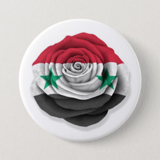 Syrian Rose Flag on White 7.5 Cm Round Badge