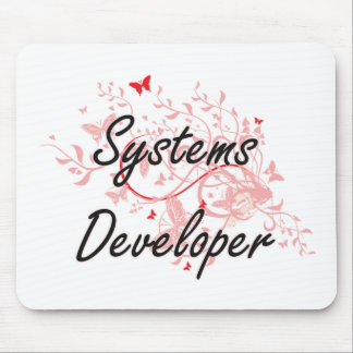 Systems Developer Artistic Job Design with Butterf Mouse Pad
