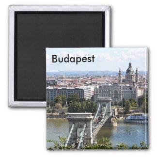 Szechenyi Chain Bridge, Budapest, Hungary, Buda... Square Magnet