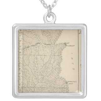 T1417S R3235E Tulare County Section Map Silver Plated Necklace