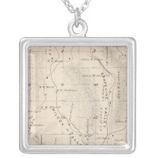 T16S R26E Tulare County Section Map Silver Plated Necklace