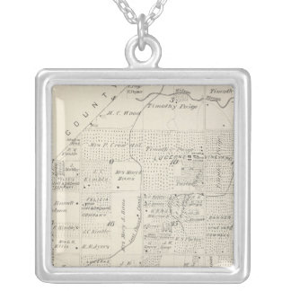 T18S R21E Tulare County Section Map Silver Plated Necklace