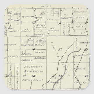 T19S R22E Tulare County Section Map Square Sticker