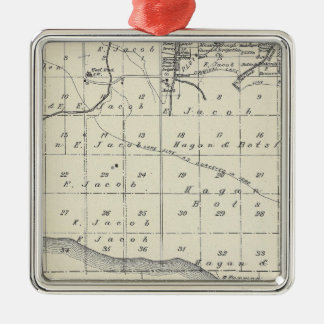 T2021S R2021E Tulare County Section Map Silver-Colored Square Decoration