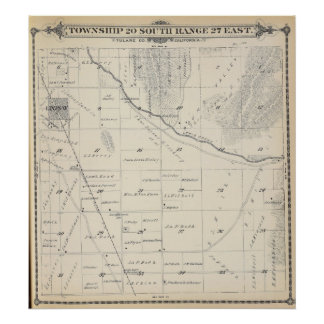 T20S R27E Tulare County Section Map Poster