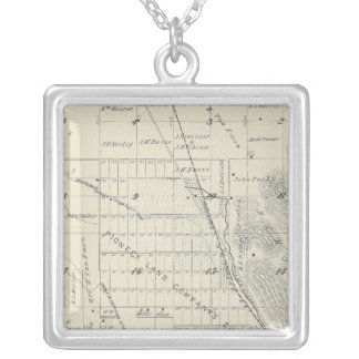 T21S R27E Tulare County Section Map Silver Plated Necklace