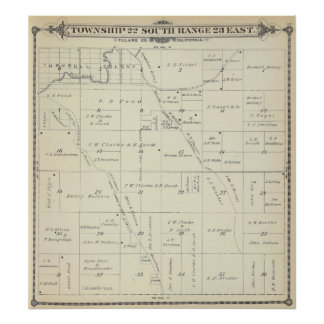 T22S R23E Tulare County Section Map Poster