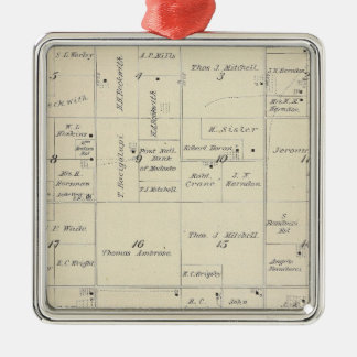 T22S R24E Tulare County Section Map Silver-Colored Square Decoration