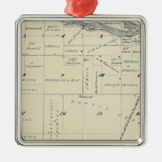 T22S R27E Tulare County Section Map Silver-Colored Square Decoration