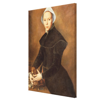 T28337 Portrait of a lady with a lapdog on a table Canvas Print