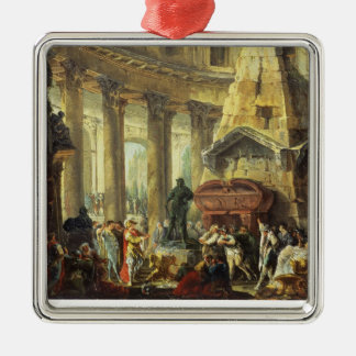 T28516 Alexander the Great visiting the Tomb of Ac Silver-Colored Square Decoration