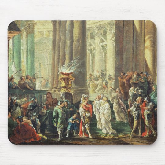 T28517 Capriccio of a Roman temple with Alexander Mouse Mat