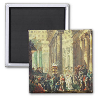 T28517 Capriccio of a Roman temple with Alexander Square Magnet