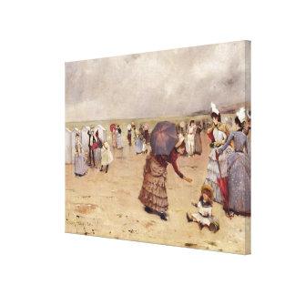 T29836 Elegant Figures on a Beach, 1886 Canvas Print
