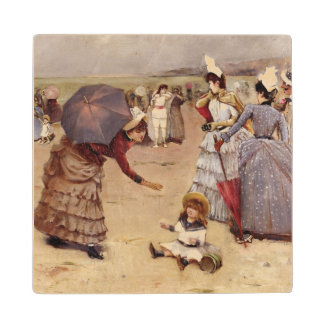 T29836 Elegant Figures on a Beach, 1886 Wood Coaster