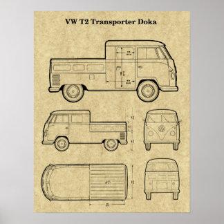 T2 Doka Van Patent Print Poster - Aged Paper