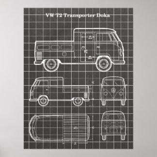 T2 Doka Van Patent Print Poster - Chalkboard