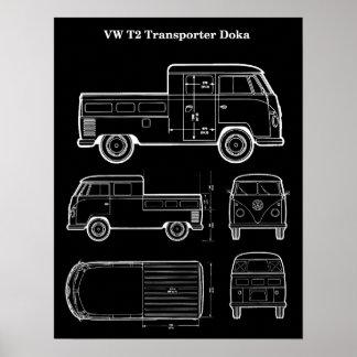 T2 Doka Van Patent Print Poster - Midnight Black