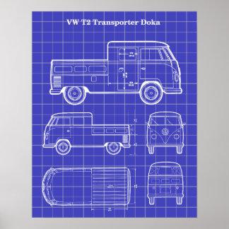 T2 Doka Van Patent Print White on Blue Poster