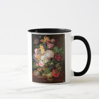 T30763 A Still Life of Flowers and Fruit (panel) Mug