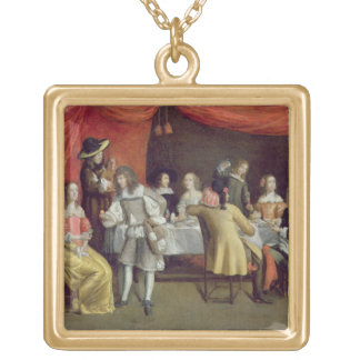 T30878 Elegant Company Dining Beneath a Red Canopy Gold Plated Necklace