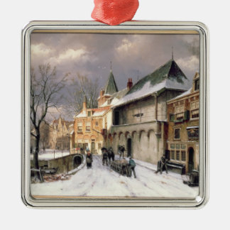 T31117 A View of a Dutch Town in Winter Christmas Ornament