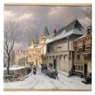 T31117 A View of a Dutch Town in Winter Tile