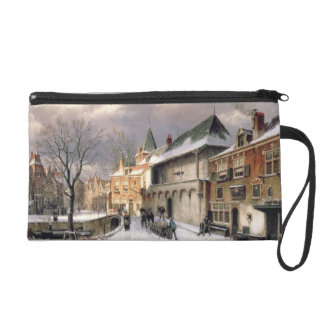 T31117 A View of a Dutch Town in Winter Wristlet