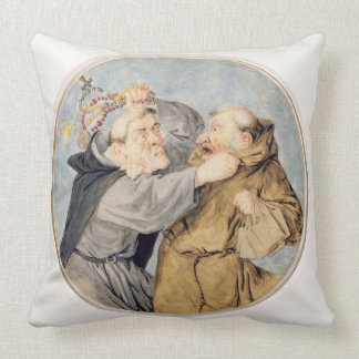 T31130 Two Monks Fighting 1690 w c ink chalk Throw Pillows
