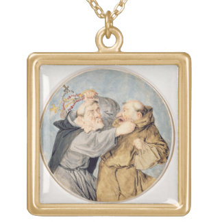 T31130 Two Monks Fighting, 1690 (w/c, ink, chalk) Pendant