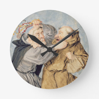 T31130 Two Monks Fighting, 1690 (w/c, ink, chalk) Wallclock