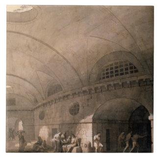 T31459 A Prison Scene, 1794 (pen & ink, wash, chal Large Square Tile