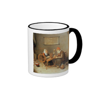 T31883 An interior with a old woman at a spinning Coffee Mugs