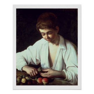 T31971 A Young Boy Peeling an Apple Poster