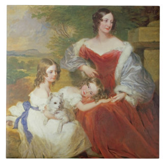 T32011 Portrait of Mrs Sarah Frances Cooper and he Large Square Tile