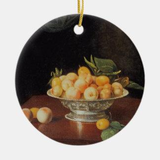 T32176 Still Life of Peaches, c.1700 Round Ceramic Decoration