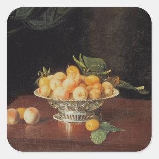 T32176 Still Life of Peaches, c.1700 Square Sticker
