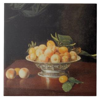 T32176 Still Life of Peaches, c.1700 Tile