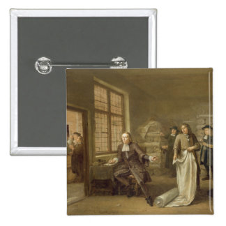 T32334 The Buyer at the Clothes Merchant's, 1690 15 Cm Square Badge